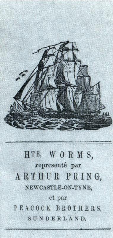 En-tête au nom de Hte Worms Newcastle et Peacock Bros Sunderland