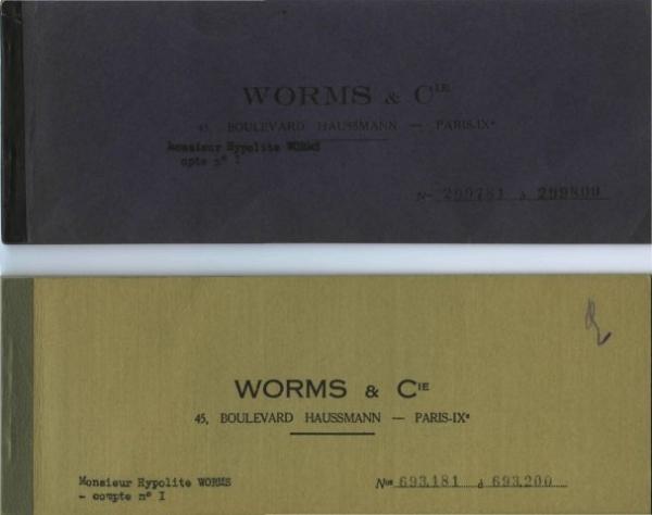 Chéquiers d'Hypolite Worms