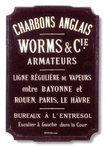 Enseigne Worms & Cie - charbons anglais - armateurs