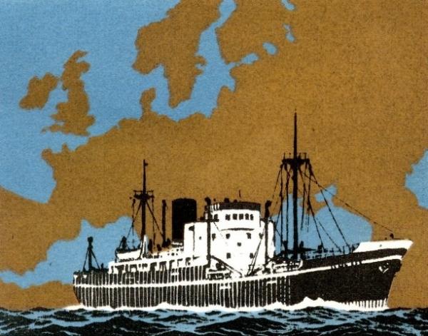 Carte de vœux des Services maritimes Worms & Cie