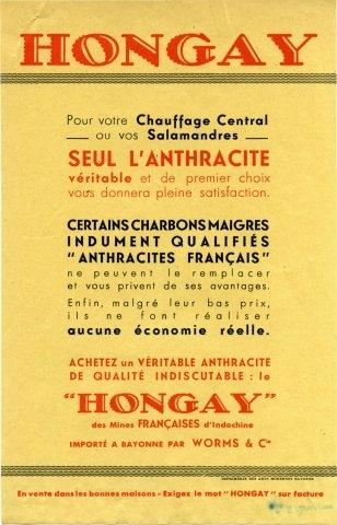 """Prospectus """"Hongay - importé à Bayonne par Worms & Cie"""""""