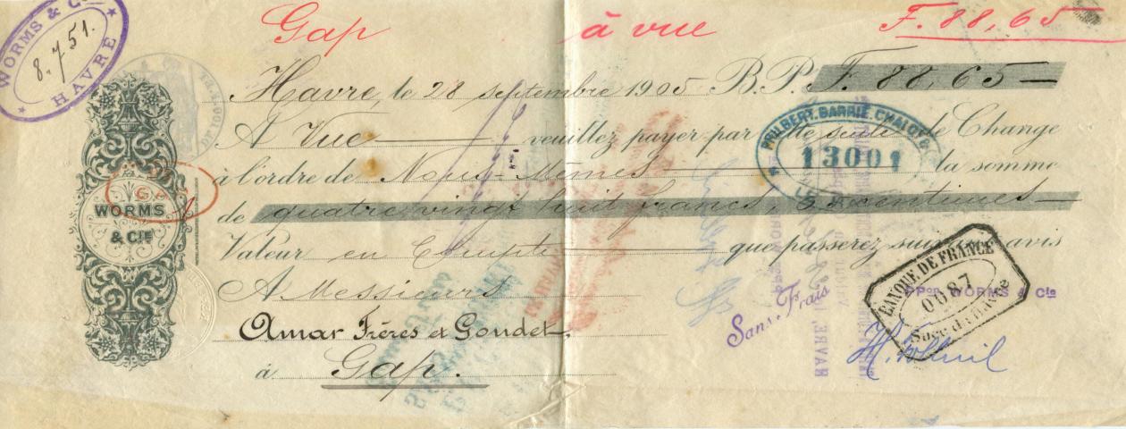 Lettre de change - Le Havre - 1905