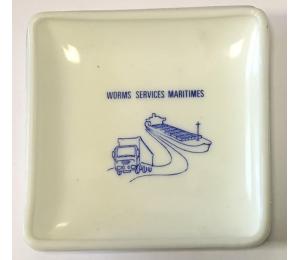 Cendrier publicitaire au nom de Worms Services maritimes