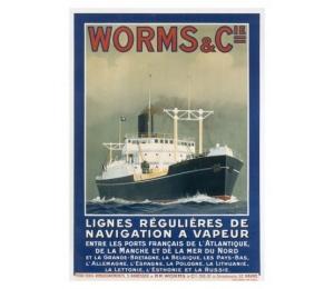 """Affiche - Services maritimes Worms & Cie - portrait du cargo """"Château-Yquem"""""""