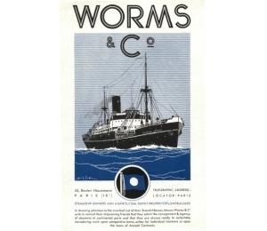 """Dépliant des Services maritimes Worms & Cie - portrait du """"Château-Larose"""" (page 1)"""
