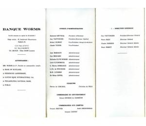 Dépliant - Banque Worms (pages 1 à 3)