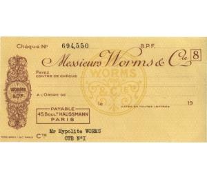 Chèque d'Hypolite Worms